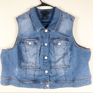 Lane Bryant Distressed Denim Vest Size 26